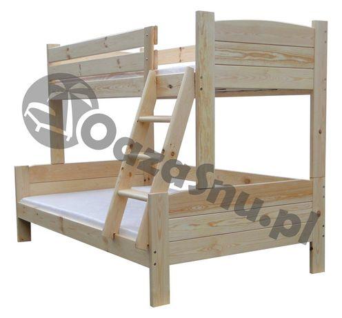 łóżko piętrowe drewniane KOLOS 120x200 3 osobowe mega mocne