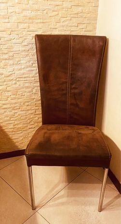 Krzesła skóra zamszowa 6 szt