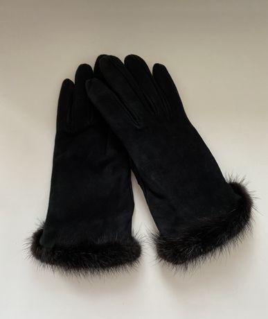 Перчатки женские замшевые на шерстяной подкладке с мехом норки кожаные