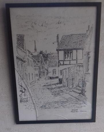 4 Stara grafika druk artystyczny Kurt von Wowern