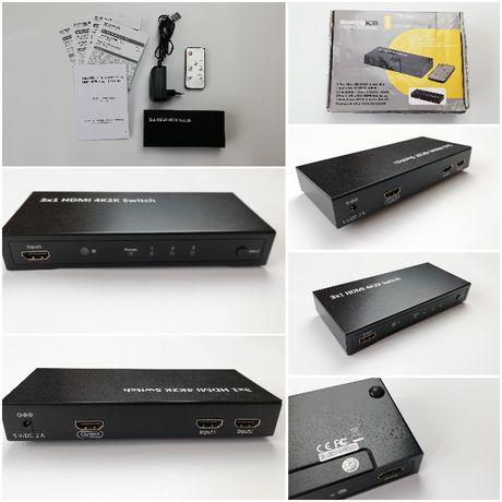 Speaka Professional - Przełącznik Ultra HD HDMI 3-porty, Pilot