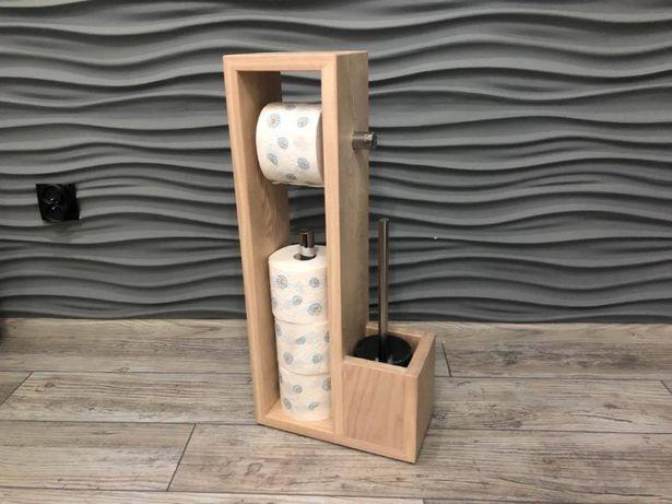 Stojak na papier toaletowy drewniany ekologiczny + szczotka WC