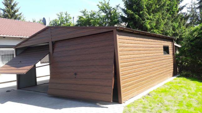 Garaż blaszany drewnopodobny orzech każdy wymiar. Panel poziomy
