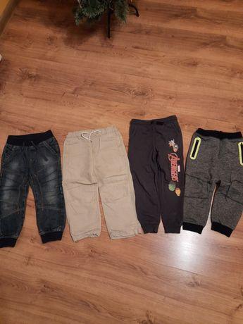 Spodnie 104 dżinsowe dresowe lniane