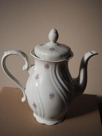 dzbanek do kawy herbaty kwiatki beż krem retro vintage