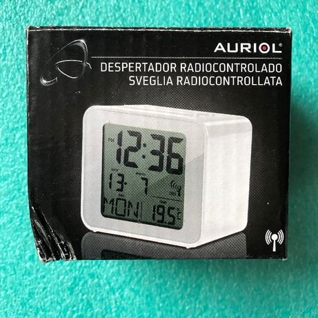 Zegar radiowy Auriol IAN z budzikiem termometrem datą