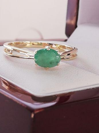 Złoty pierścionek z prawdziwym SZMARAGDEM pięknym bez skazy
