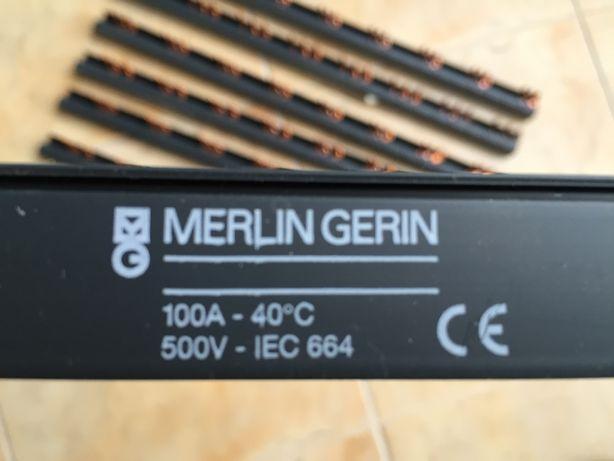 Lote de 8 Pentes de Ligação Tripolar 3P, 24 módulos da Merlin Gerin