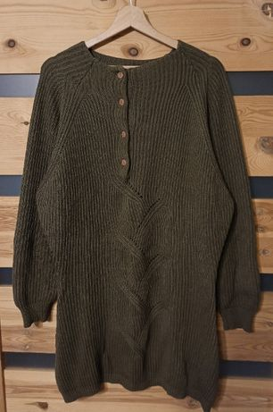 Mayon długi sweter damski khaki warkocz guziki