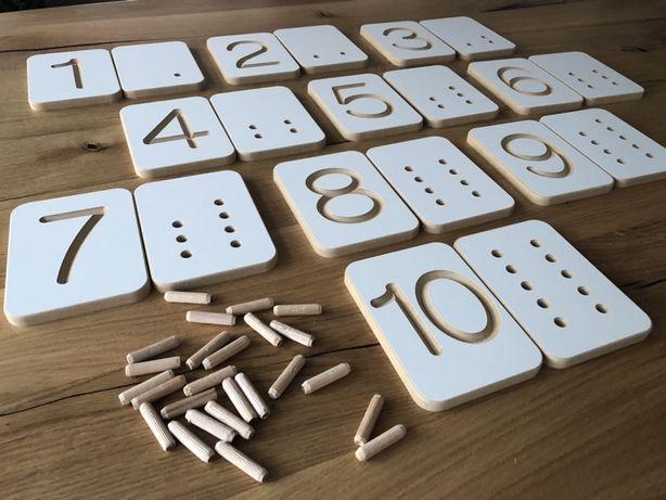 Zestaw edukacyjny do nauki liczenia, cyferki, tabliczki, Montessori