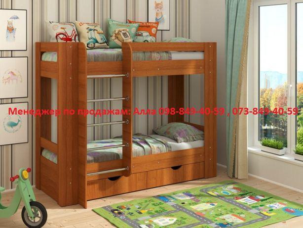 Двухъярусная кровать, Детская мебель Дуэт-3, Цвет: Лесной орех, Склад.