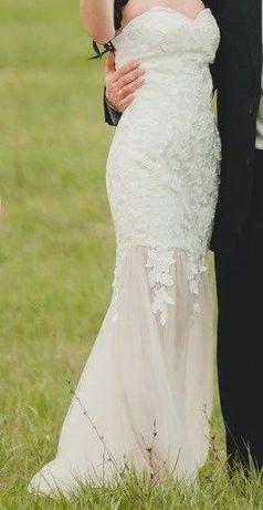Свадебное /вечернее/выпускное платье - бюстье цвета шампанского