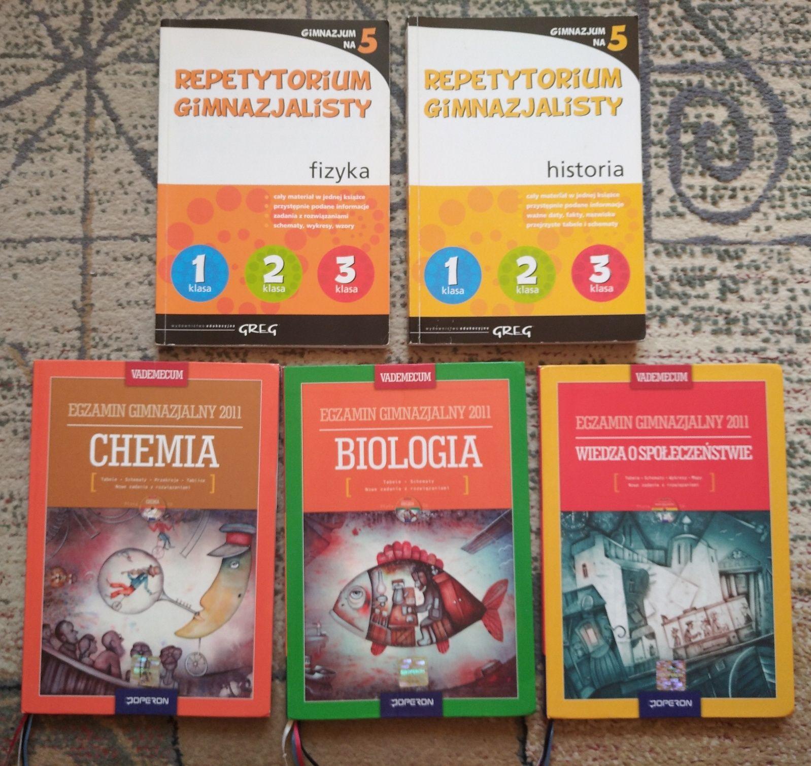 Vademecum z chemii, biologii, wos oraz Repetytorium z historii, fizyki