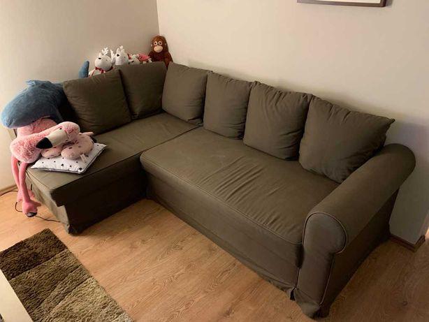 Narożnik z IKEA z funkcją spania brązowy