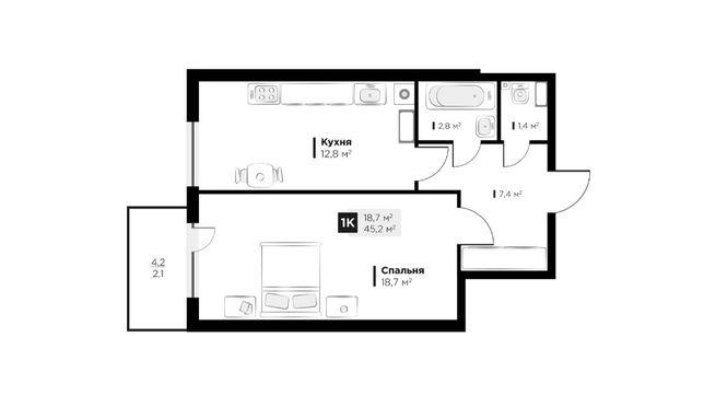 Продаж 1 кім. квартири в ЖК OBRIY3, Малоголосківська, площа 45 кв.м