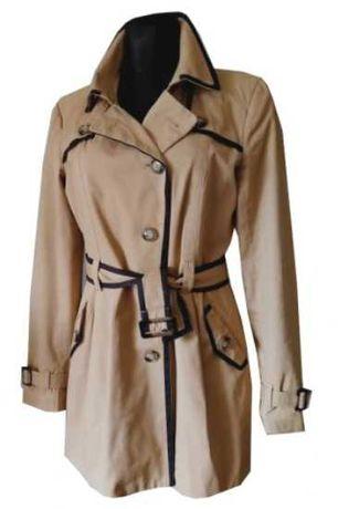 ORSAY beżowy płaszcz trencz z paskiem i lamówką rozm. 40 L bdb stan