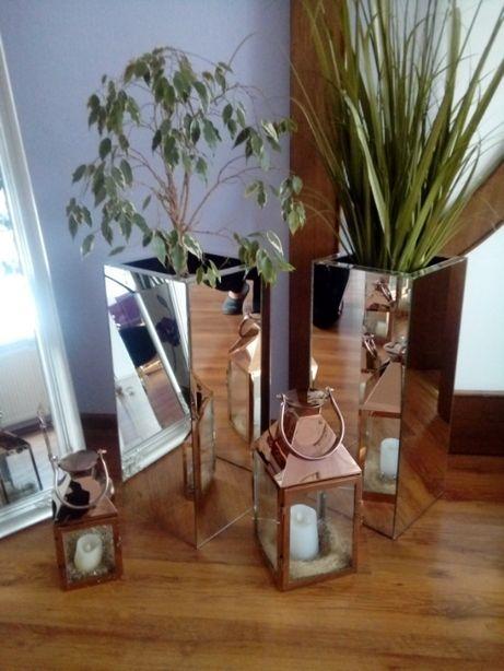 Doniczki lustrzane szklane glamur do domu i wnetrz