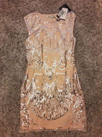 Nowa sukienka Nelly Nly One cekinowa blady roz mini imprezowa wesele