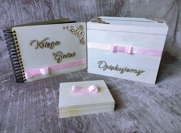 Pudełko na koperty i obrączki, księga gości. Różowa wstążka.
