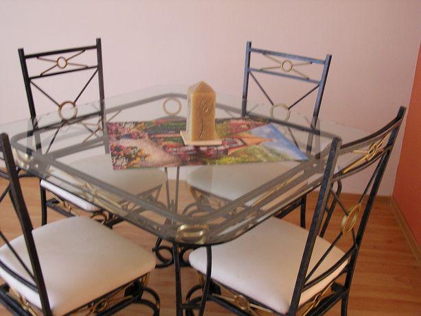 stół kuty szklany + 4 krzesła + ława