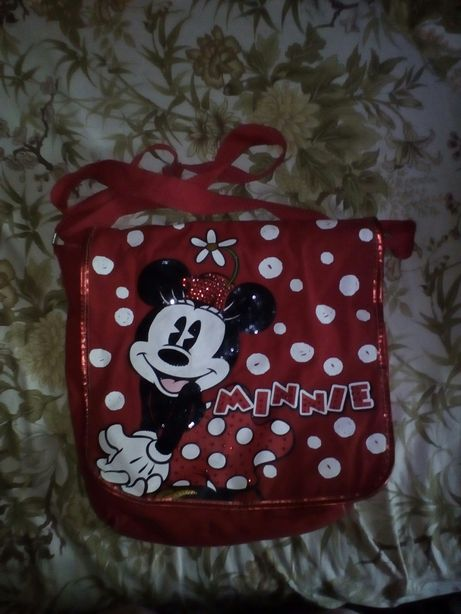 Красная сумка через плечё, сумка Мини Маус, красная сумочка.