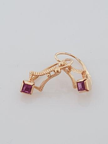 Złote kolczyki damskie z rubinem, Próba 583(158)