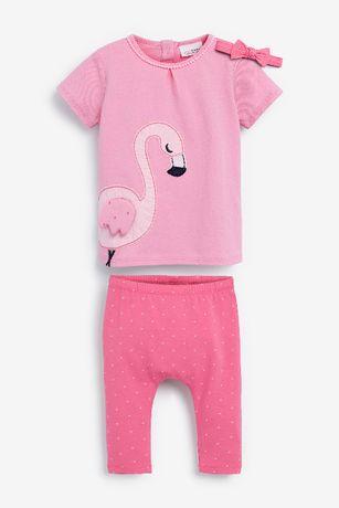 *NEXT* bawełniany komplet: bluzeczka+legginsy+opaska r.18-24m/92 cm