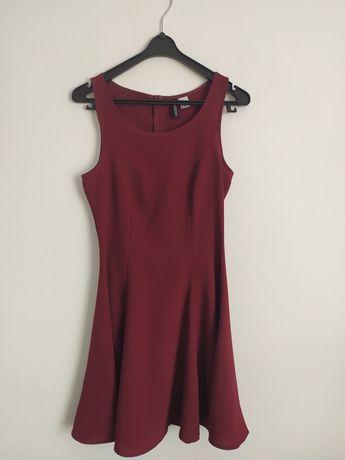 Bordowa sukienka na lato H&M r.34