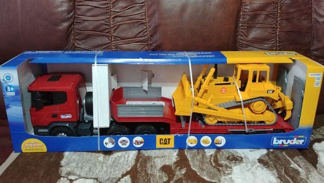 Zestaw Bruder Scania R z naczepą i buldożerem CAT 03555 NOWE