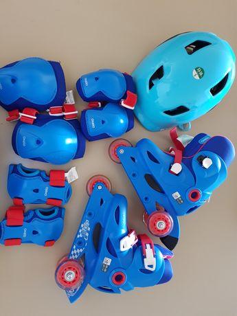Patins tamanho 28-30 com proteções e capacete