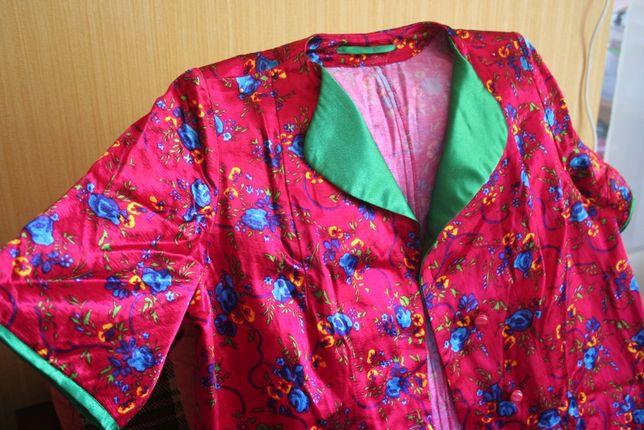 Халат женский новый красный с цветочным рисунком Размер 48-50