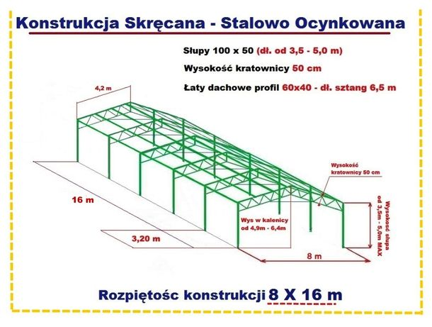 KONSTRUKCJA 8x16m Garaż Wiata Skręcana Ocynkowana Magazyn Namiot Hala