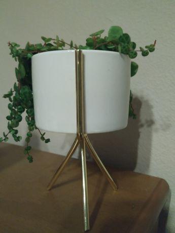 Vaso branco com suporte metálico dourado