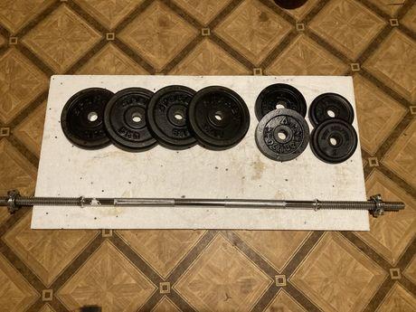 Gryf prosty 120 cm z obciążeniem żeliwnym całość 35 kg siłownia