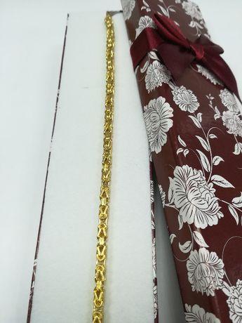 Złota bransoletka - splot królewski złoto 585