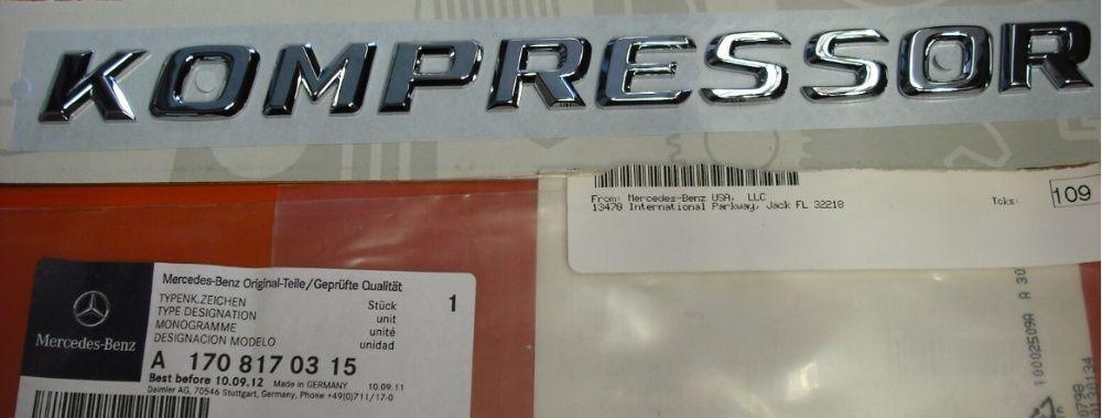 NOWY emblemat przyklejany KOMPRESSOR na klapę srebrny Mercedes Benz Zamość - image 1