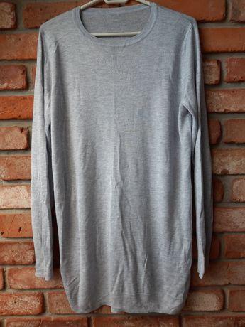 Siwy sweterek na długi rękaw z rozcięciem na brzuszek roz. M/L ciążowy