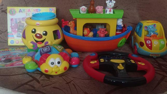Набор игрушек, жук, сортер, Kiddieland ковчег, руль, автошка