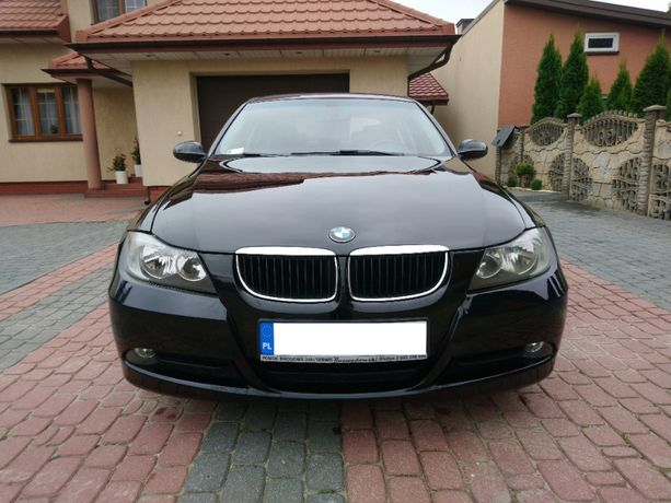 BMW E90 2.0 benzyna, czarny sedan, 2007r.