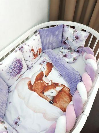 Бортики в кроватку, защита в кроватку, балдахин, простынь на резинке,