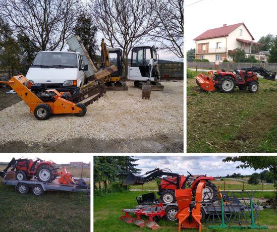 Usługi minikoparką, wywrotką, koparką łańcuchową, mini traktorkiem