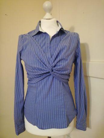 Błękitna bawełniana koszula 36 S S/M Mango w pionowe paski elegancka