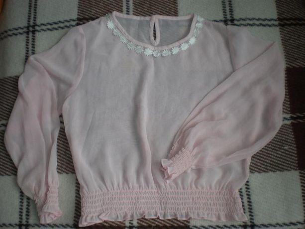 Шифоновая нежно-розовая блузка для девочки,нарядная.