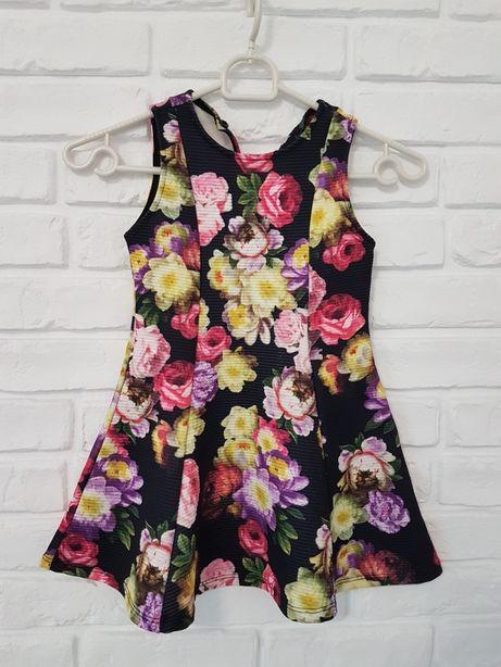 Śliczna sukienka w kwiatki 3-4 lata 104 cm