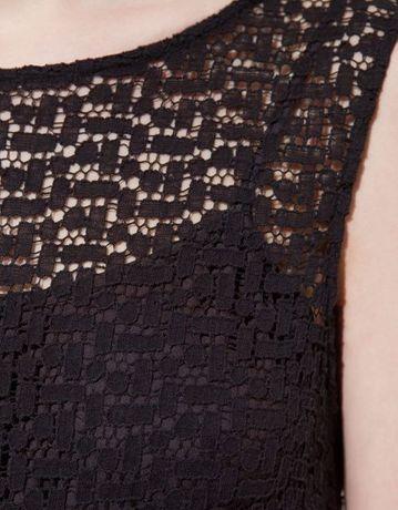 Sukienka mała czarna ZARA koronka złote frędzle