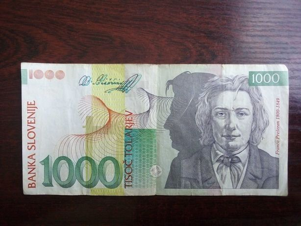 Banknot 1000 tolarjev Słowenia