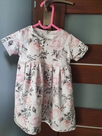 Sukienka w róże handmade rozmiar 80