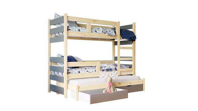 Łóżko piętrowe NOEMI 3-osobowe z wysuwanym spaniem