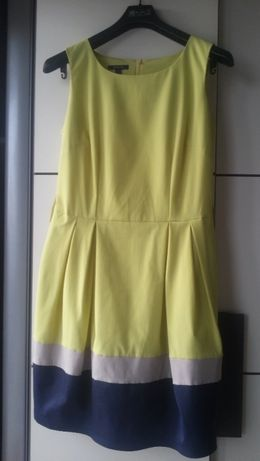 sukienka Ette Lou wesele chrzciny r.38 M limonkowo-szaro-granatowa