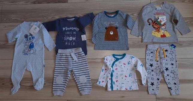 Ubranka chłopięce 74 NOWE dres śpioszki bluzeczki spodnie